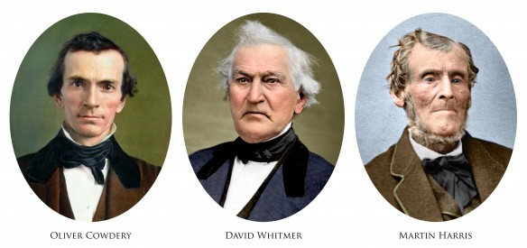 The Three Witnesses of the Book of Mormon. Compilation, retouching, and colorization by Bryce M. Haymond. (Click for full high resolution)