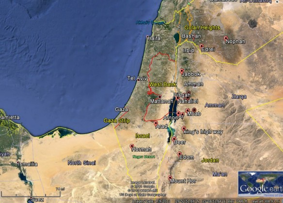 Israelite Journeying in Jordan (Numbers 21) http://scriptures.byu.edu/mapscrip/#num/21