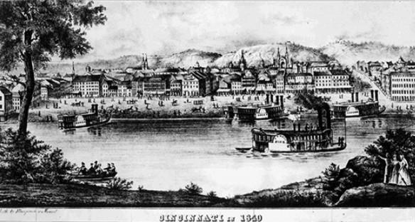 Figure 2: Cincinnati in 1840, lithograph by Klauprech & Menzel. Courtesy of Cincinnati Library.