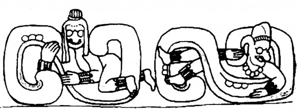 Figure 2: Part of Doorway of Temple 22 at Copan, Honduras (drawing by D. Wirth)