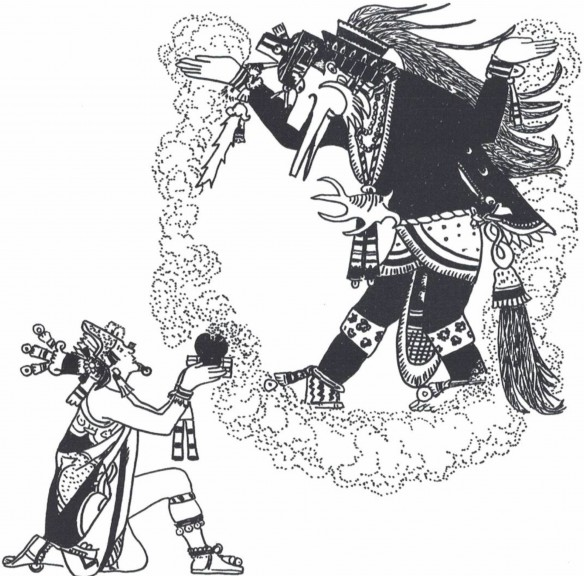 Figure 4: Montezuma using incense clouds to conjure the deity Ehecatl-Quetzalcoatl (drawing by D. Wirth)