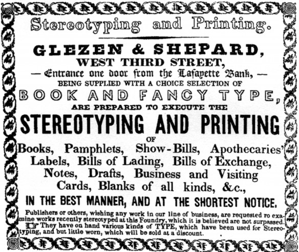 "Figure 5: Business Advertisement, Shaffer's 1839–40 City Directory. Note the address on West Third Street, ""one door from the Lafayette Bank."" Courtesy Cincinnati Library."