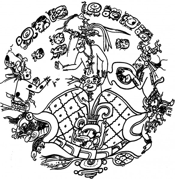 Figure 6: The resurrection of Hun Nal Ye, the Maize God, from a turtle carapace, painted on a Maya vessel (drawing by D. Wirth)