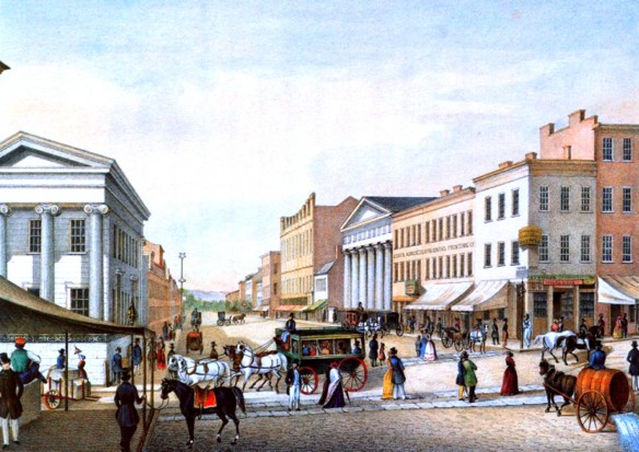 Figure 6: Third Street between Main and Vine, ca. 1850. Courtesy of the Cincinnati History Library and Archives at the Cincinnati Museum Center.