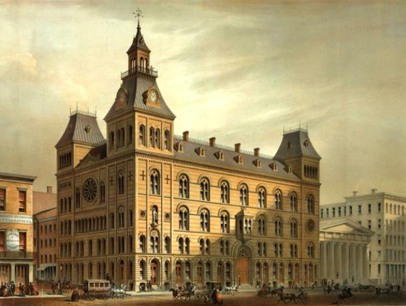 Figure 8: [Third] Masonic Temple, 1859, chromolithograph. The First Temple was previously located just to the left of the colonnaded Lafayette-Franklin Bank building at right. Courtesy of the Library of Congress.