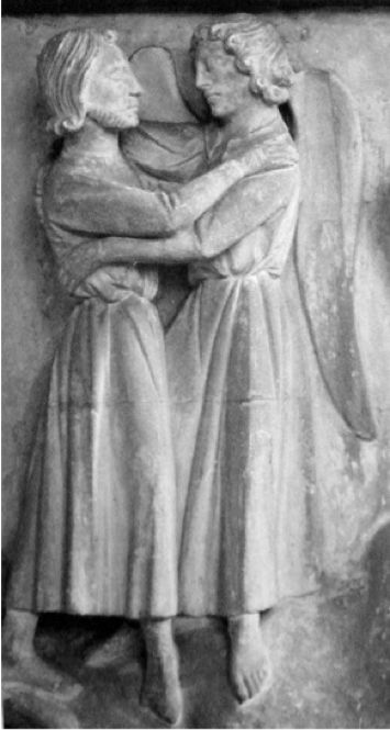 Figure 8. Jacob Wrestling with the Angel. Chapter House, Salisbury Cathedral, England, 19th-century restoration of a 13th-century original (Photograph courtesy of Matthew B. Brown)