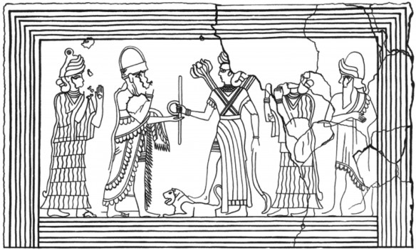 Figure 3. Culminating Rites of Royal Investiture. Line drawing of a detail from the upper central portion of the Mari Investiture Panel, Tel Hariri, Syria, ca. 1800-1760 bce (Image courtesy of Oxford University Press)