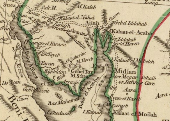 Gulf of Aqaba detail on the 1794 D'Anville map of Arabia.