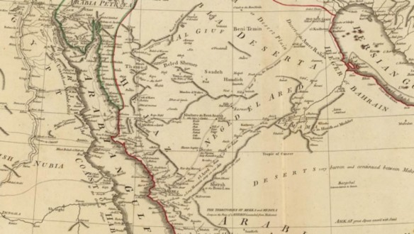 Red Sea detail on the 1794 D'Anville map of Arabia.