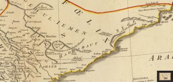 Dofar region detail on the 1794 D'Anville map of Arabia by Laurie and Whittle.