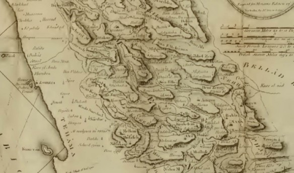 Detail of Niebuhr's map of Yemen.