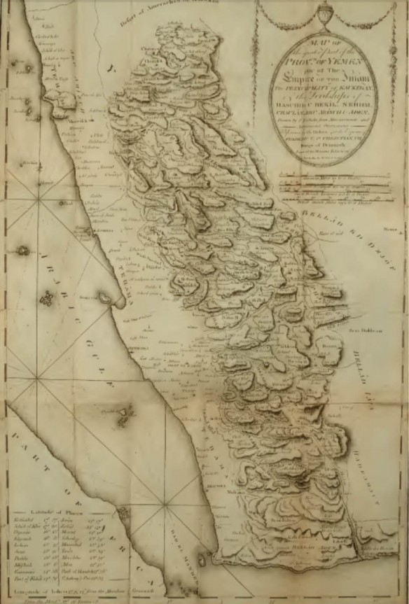 View of Niebuhr's Map of Yemen, as printed in his 1792 Travels Through Arabia, provided at Archive.org.219
