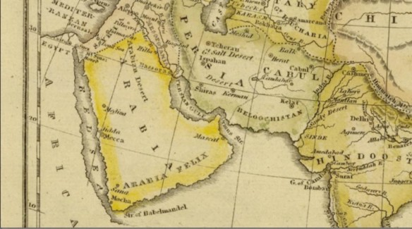 Arabia on the world map of Jedidiah Morse.