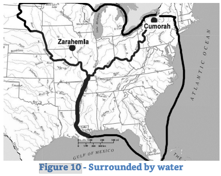 "Figure 5: Neville's Figure 9 (53) — Narrow Strip of Wilderness (Thin Line, the Ohio and Missouri Rivers) and Southern ""sea west"" (Thick Line, Lower Mississippi River)."