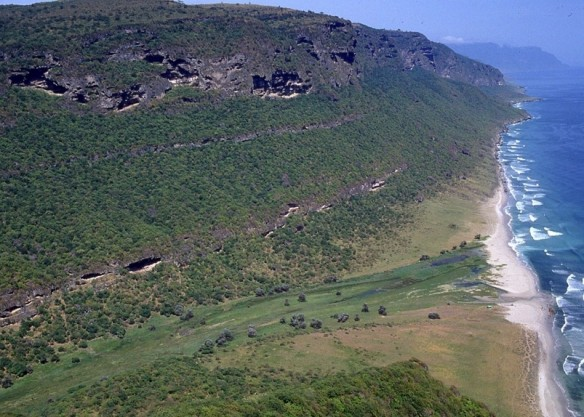 A view of Khor Kharfot at Wadi Sayq, facing eastward. Image courtesy of Warren Aston. Photo taken after the monsoon season when the area is especially green.