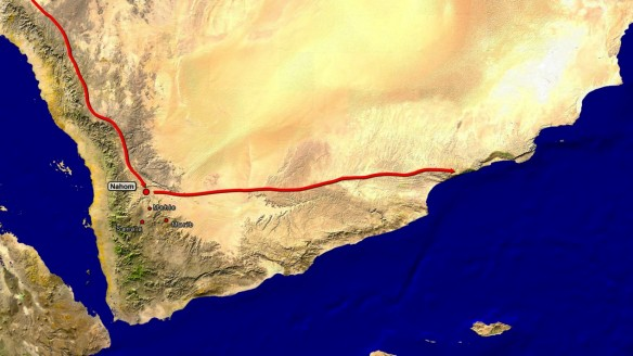 Aston's proposed route from Nahom to Wadi Sayq and Khor Kharfot.132
