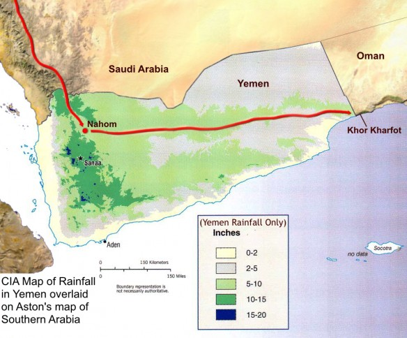 Map of average rainfall in Yemen146 superimposed on Aston's topographical map of southern Arabia. The upper green branch (5–10 inches/year) extending from Nahom east toward Oman corresponds well with the route proposed by Aston that provides inland access to Wadi Sayq and Khor Kharfot, Bountiful.