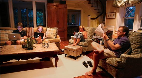 "Figure 1. Nichole Bengiveno: ""The Simses of Old Greenwich, Conn., gather to read after dinner. Their means of text delivery is divided by generation.""13"