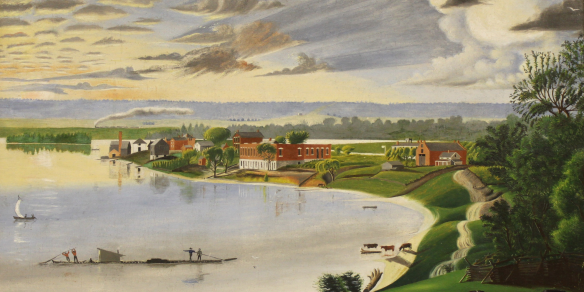 Figure 8. David Hyrum Smith, 1844-1904: Bend in the River, 1868 (detail). The back of the Red Brick Store can be seen slightly to the left of center, above the unfinished foundation of the Nauvoo House95