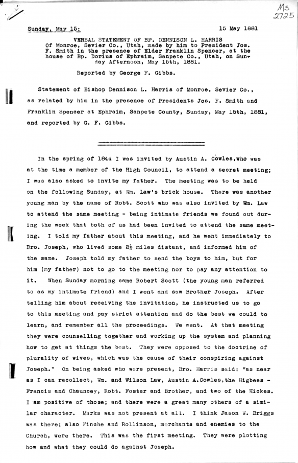 Figure 2. First Page of the Harris Verbal Statement