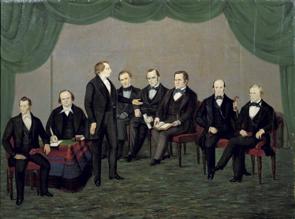 Figure 7. William Warner Major, 1804-1854: Joseph Smith and His Friends, 1843-1844. Left to right: Hyrum Smith, Willard Richards, Joseph Smith, Orson Pratt, Parley Parker Pratt, Orson Hyde, Heber Chase Kimball, and Brigham Young87