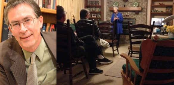 Figures 9 a and b. a. Stephen H. Webb, 1961–2016. b. Ruth Ellen Homer discusses the restoration of priesthood keys by Peter, James, and John at a meeting on 18 February 2016, with Stephen Webb seated at far left.