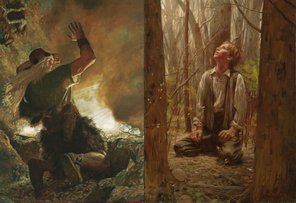 Figures 1 and 2. Arnold Friberg (1913–2010): The Brother of Jared Sees the Finger of God, 1951; Walter Rane (1949-): The Desires of My Heart, 2004.
