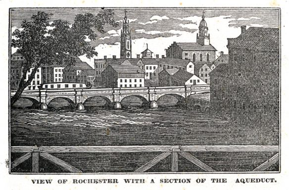 Figure 4. 1830 engraving shows the Erie Canal aqueduct passing over the Genesee River in Rochester.17