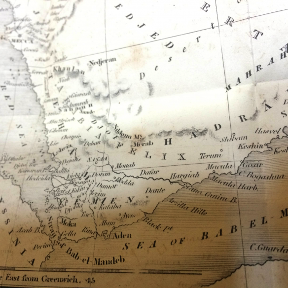 Figure 5. A section of Josiah Conder's 1825 map of Arabia from The Modern Traveler, courtesy of Rooke Books, Bath, England. The Nikkum Mountains are near the center, northeast of Sanaa.