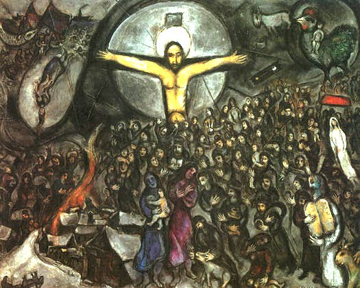 """Figure 6. Marc Chagall (1887–1985): L'Exode, 1952–1966. """"If I Be Lifted Up from the Earth, [I] Will Draw All Men Unto Me"""" (John 12:32)."""