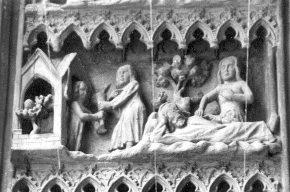 Figure 22. The Quest of Seth for the Oil of Mercy, 1351–1360. Heilig-Kreuz Münster (Holy Cross Minster) in Schwäbisch Gmünd, Germany.