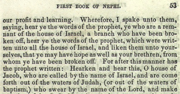 Figure 25. 1 Nephi VI [1 Nephi 20:1], 1840 Edition of the Book of Mormon, p. 53.