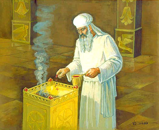Figure 48. The High Priest Sprinkles Blood on the Altar of Incense That Stood Before the Veil.