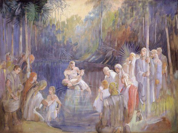 Figure 49. Minerva Teichert (1888–1976): Alma Baptizes in the Waters of Mormon, 1949–1951.